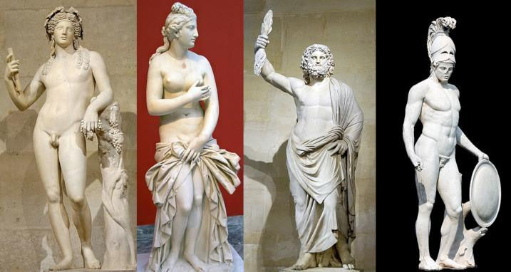 Four Greek God marble statues]