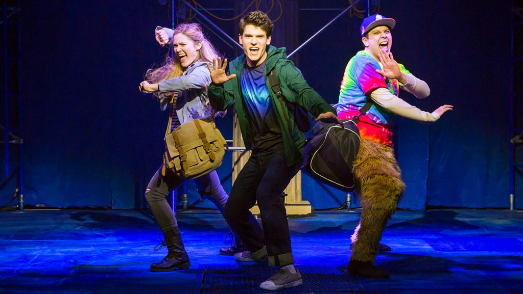 Percy Jackson, Grover and Annabeth sing on stage during The Lightning Thief Musical
