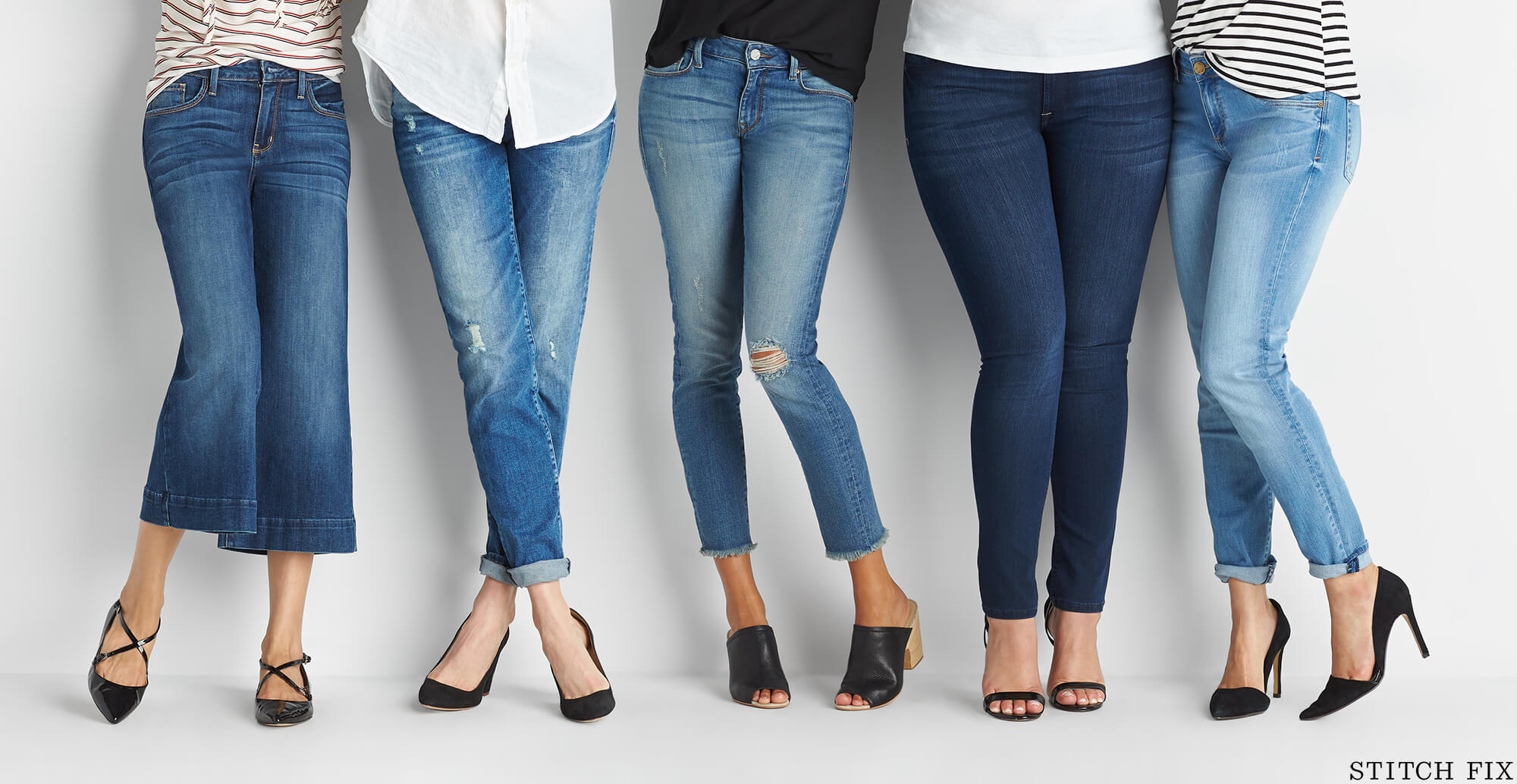 A variety of jean styles on women with different body types.
