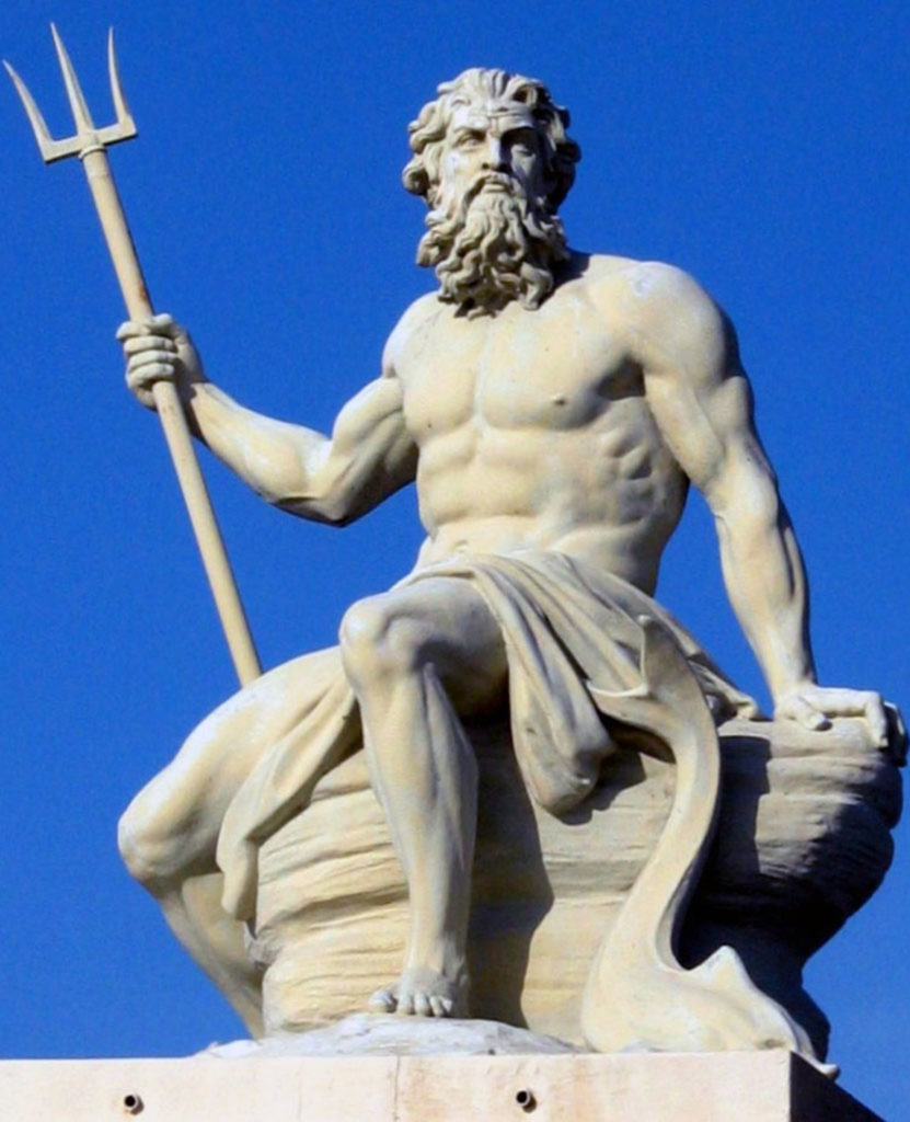 Statue of the greek god Poseidon with his trident