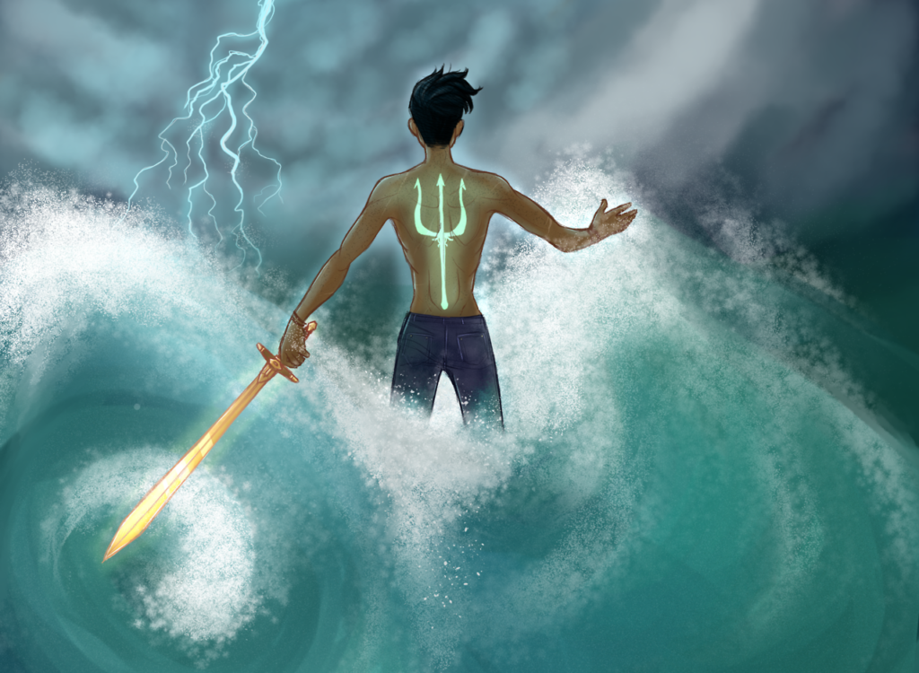 Percy Jackson Illustration of Percy in the water with his sword during a lightning storm