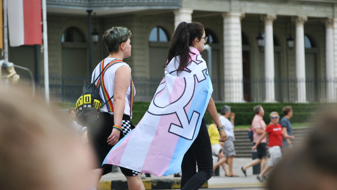 [Image Description: Two people are walking in a pride parade, with their back towards the camera. One of them is wearing a pride flag as a cape] Via Unsplash