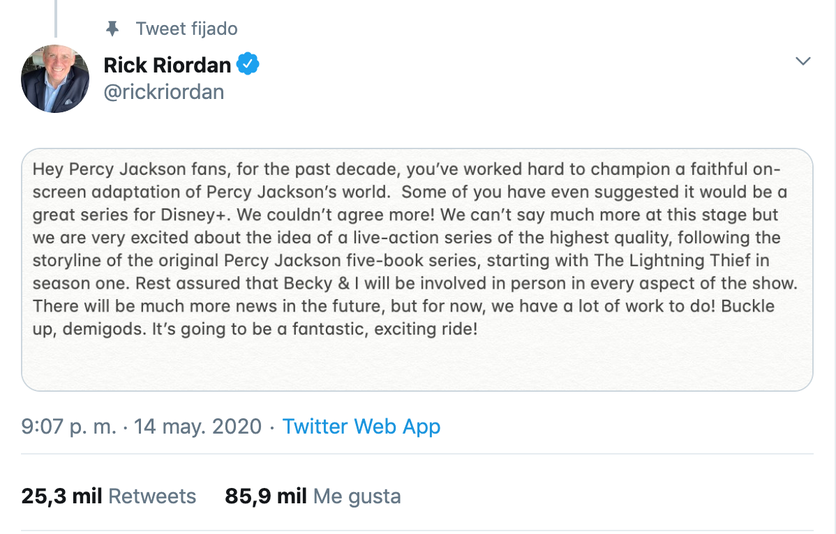 [Image Description: Image of a tweet by Rick Riordan announcing that Disney+ will adapt the Percy Jackson books.] via Twitter.