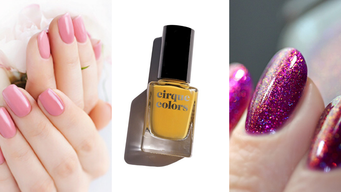 [Image description: Three images of nail polish] via Amazon