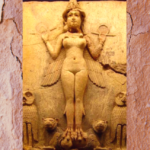 An image of a stone engraved statue of Enheduanna. The image is set on a reddish, brown textured background