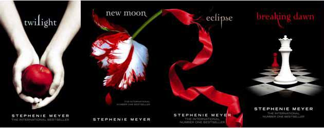 [Image description: all the Twilight book covers side by side]