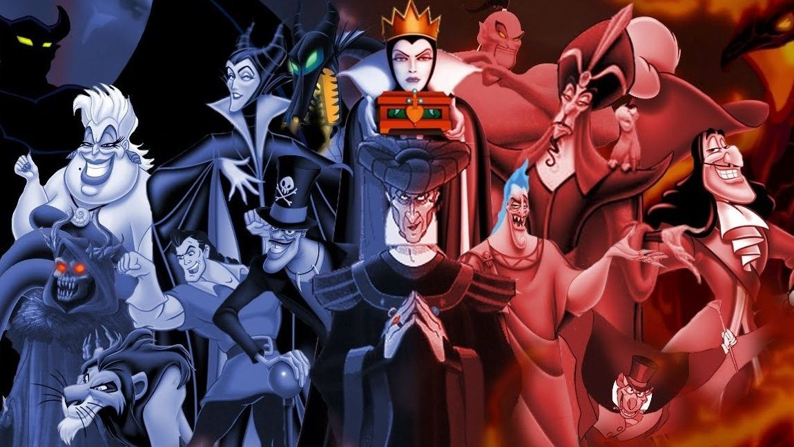 [Image description: all the animated Disney villains together with a filter than goes from purple to red on them ] via as.com.