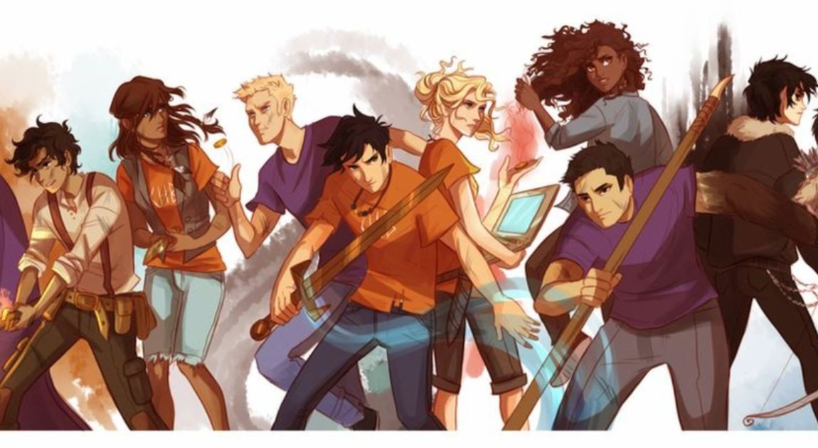 [Image description: artwork of the characters of the Percy Jackson universe. ] via Viria on Tumblr.