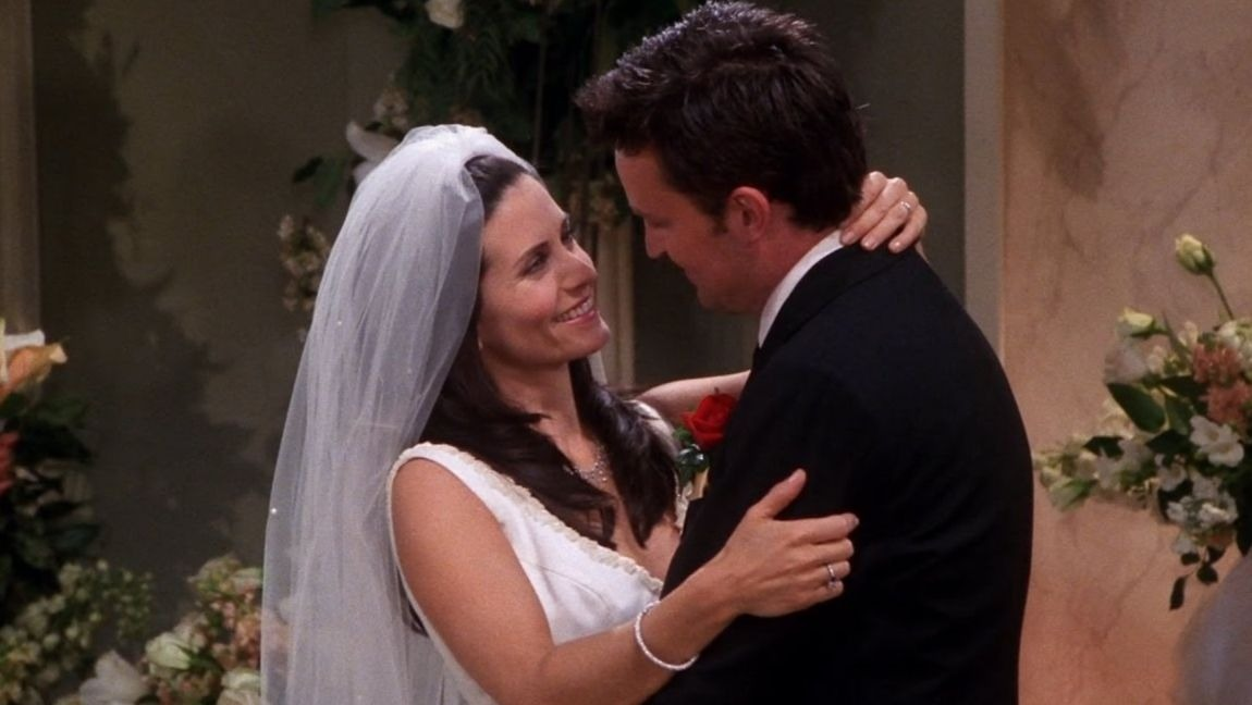 [Image Description: Monica and Chandler at their wedding dancing and looking at each other.] via Pinterest.