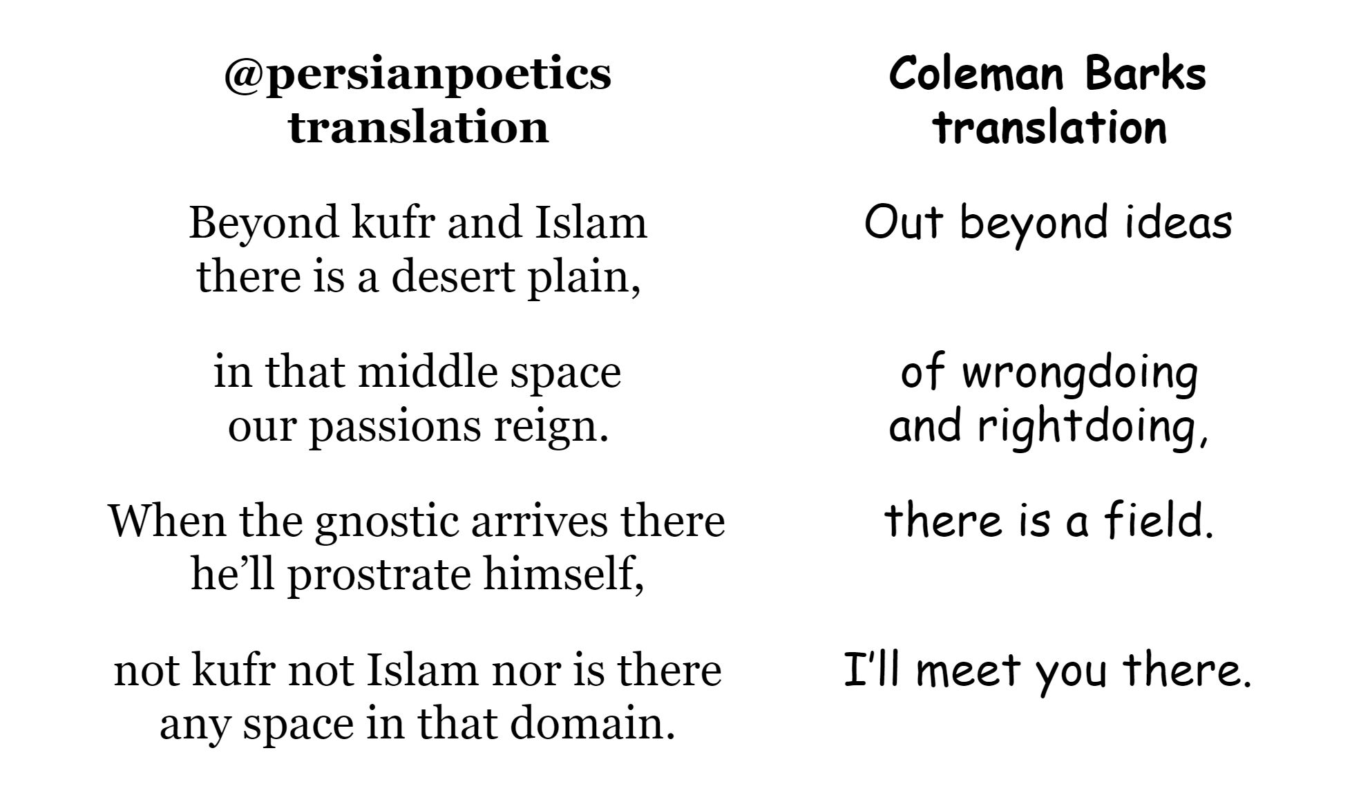 A post comparing the translation of one of Rumi's poems between Coleman Barks and Persian Poetics on Twitter