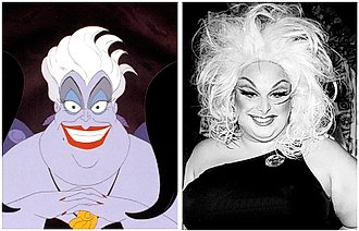 [Image Description: image of Ursula from The Little Mermaid next to a black and white photo of the drag queen Divine.] via Twitter.