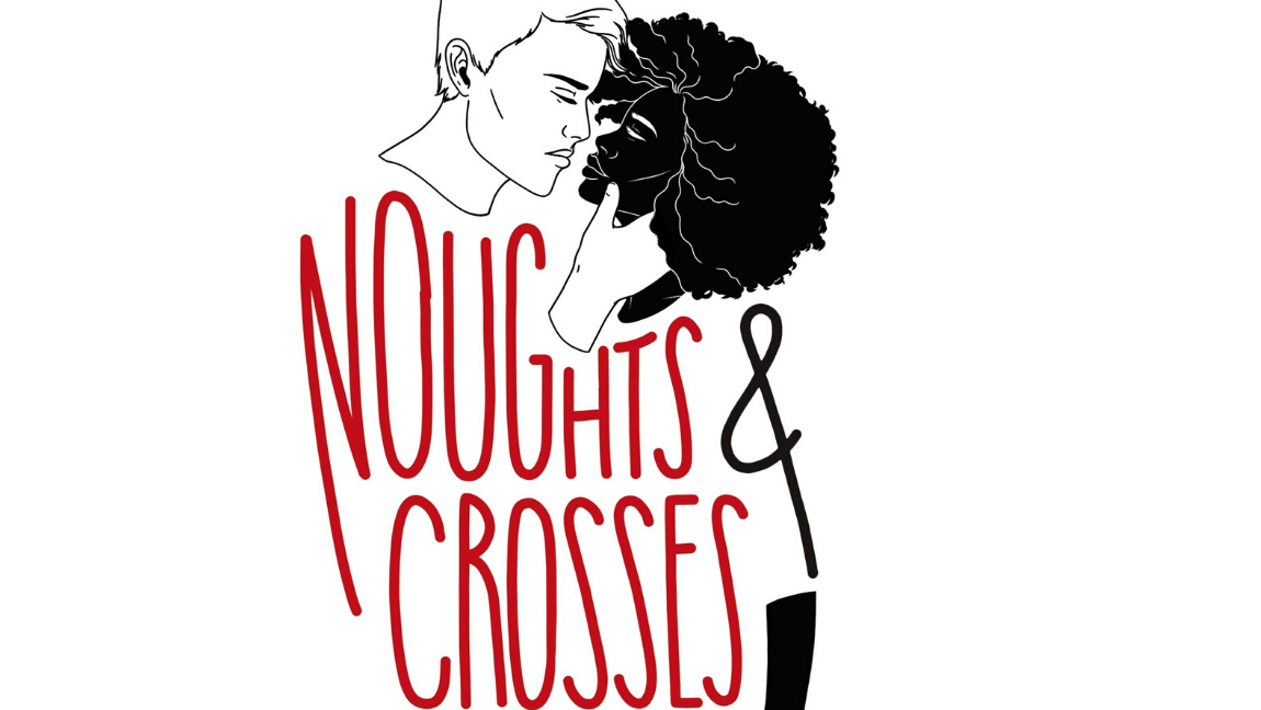 [Image Description: . A boy leans down kissing a girl. Noughts and Crosses book via Random House.]