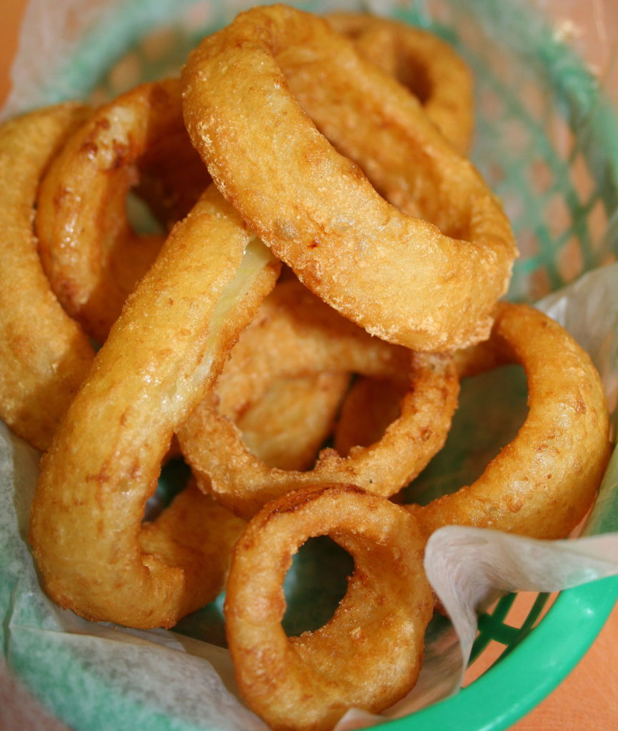 "Basket of onion rings from ""El Carambas"" Mexican restaurant in Rochester, Minnesota"