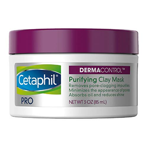 A product image of Cetaphil's Purifying Clay Mask. The lid of thr tub is of purple color while the bottom is white with the label on.