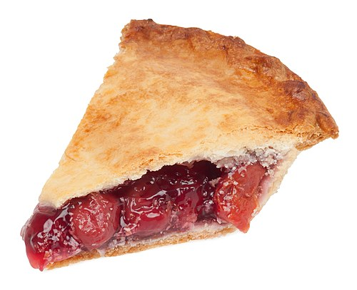 A slice of Table Talk brand cherry pie, from a local supermarket in NYC