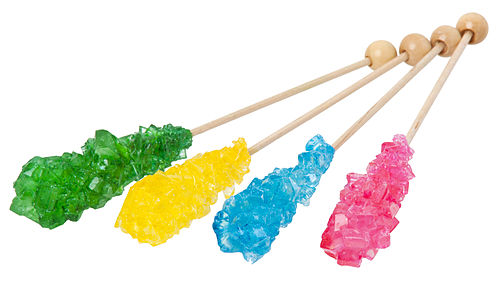 Various flavors of rock candy