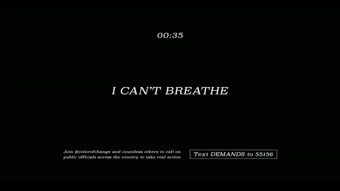[Image Description: 'I Can't Breathe' written on a black background.] Via Nickelodeon.