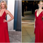 Elizabeth Banks in the same red dress at the Vanity Fair Oscars party in 2004 and 2020.