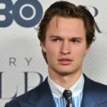 Ansel Elgort poses in front of a camera while on the red carpet.]