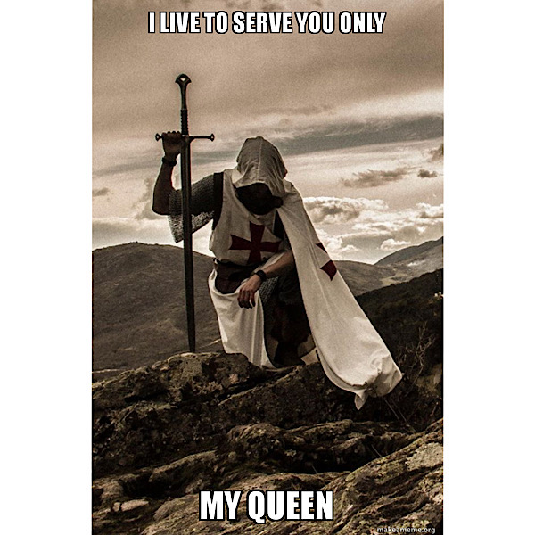 """A figure in medieval robes kneels on a hill. Image text reads, """"I live to serve you only, my queen."""""""