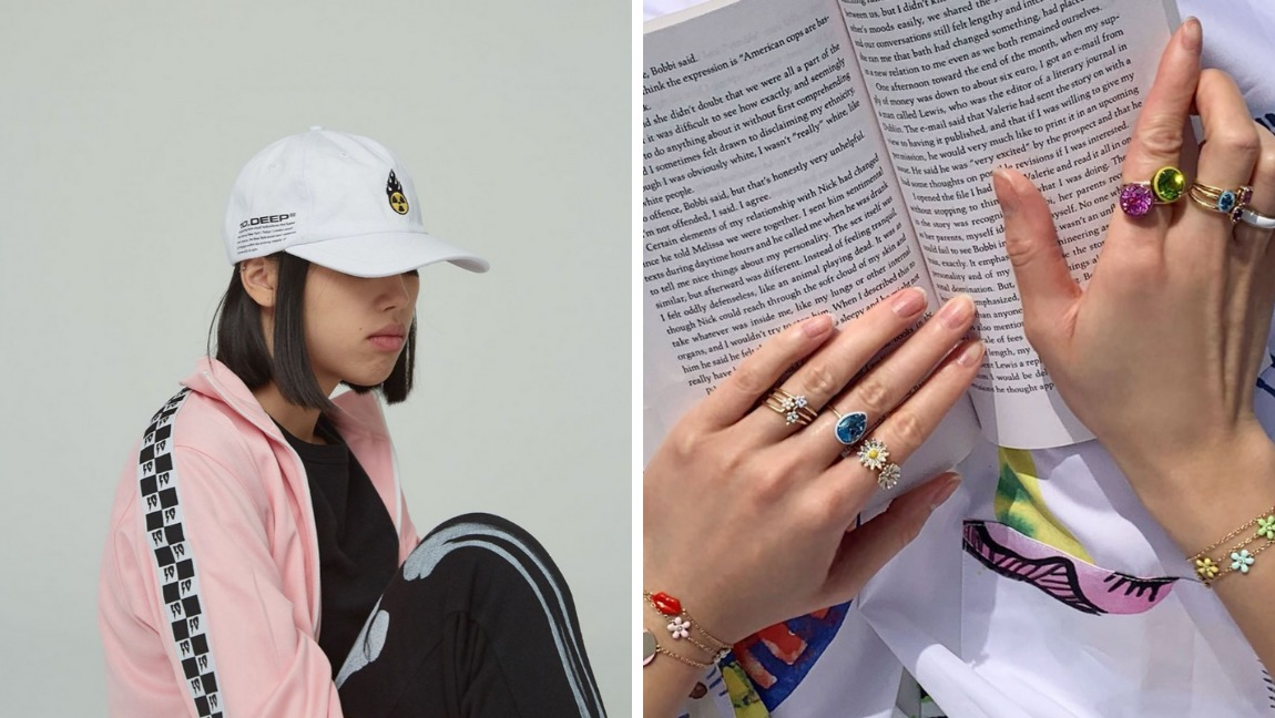 [Image description: A woman sits with a baseball cap covering her face, next to an image of two jewelry-adorned hands] @10deep and @alisonlou / via Instagram