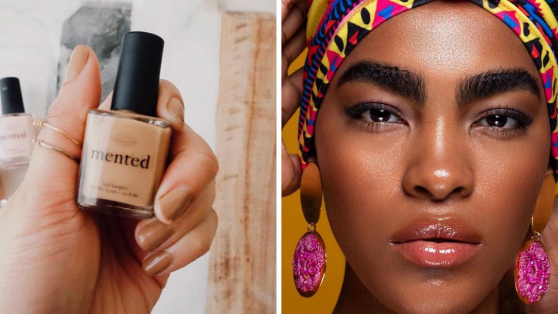 [Image description: A hand holds a nail polish, and a woman looks directly into the camera.] @uomabeauty and @mentedcosmetics / via Instagram
