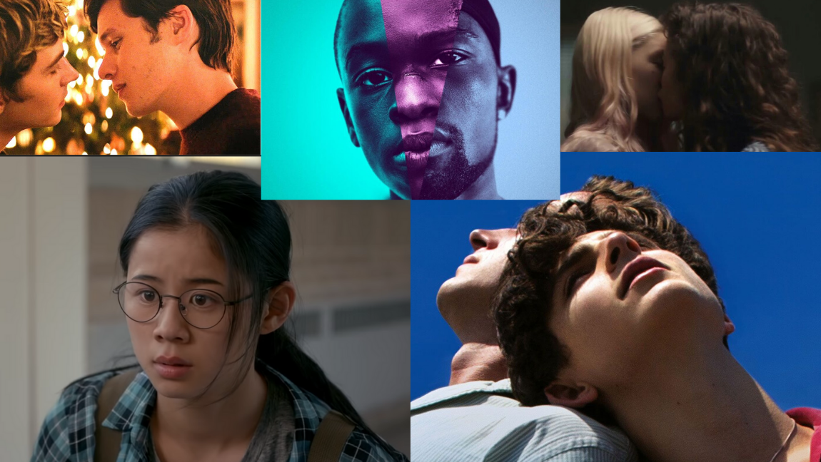 [Image Description: IN the top left corner the a scene from Love Simon: two boys lean in to kiss each other. In the top middle a black boy looks directly. In the top left corner a brunette woman and blonde woman kiss. In the bottom corner a dishevelled asian girl looks confused. In the bottom right corner two men stand back to back with their eyes closed.]