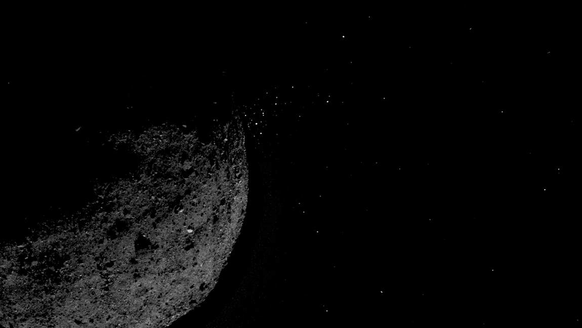 View of asteroid 101955 Bennu ejecting particles from its surface on Jan.19, 2019