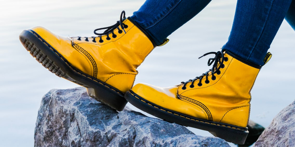 A pair of yellow boots.
