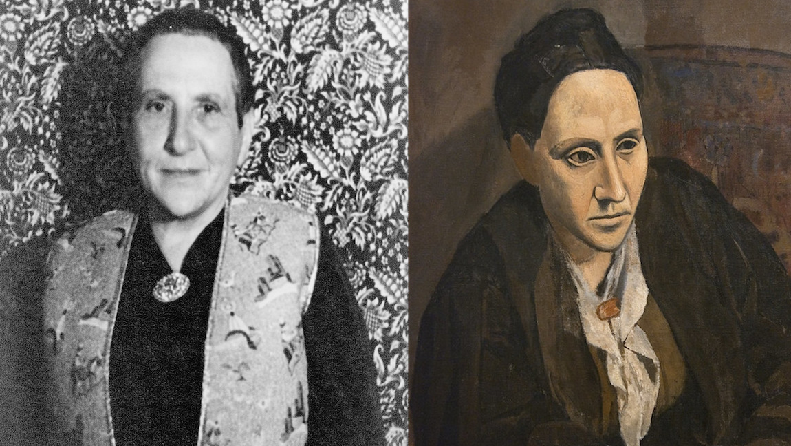 [Image description: Gertrude Stein smiling at the camera on the left, and on the left, Pablo Picasso's portrait of her.] Via Flickr