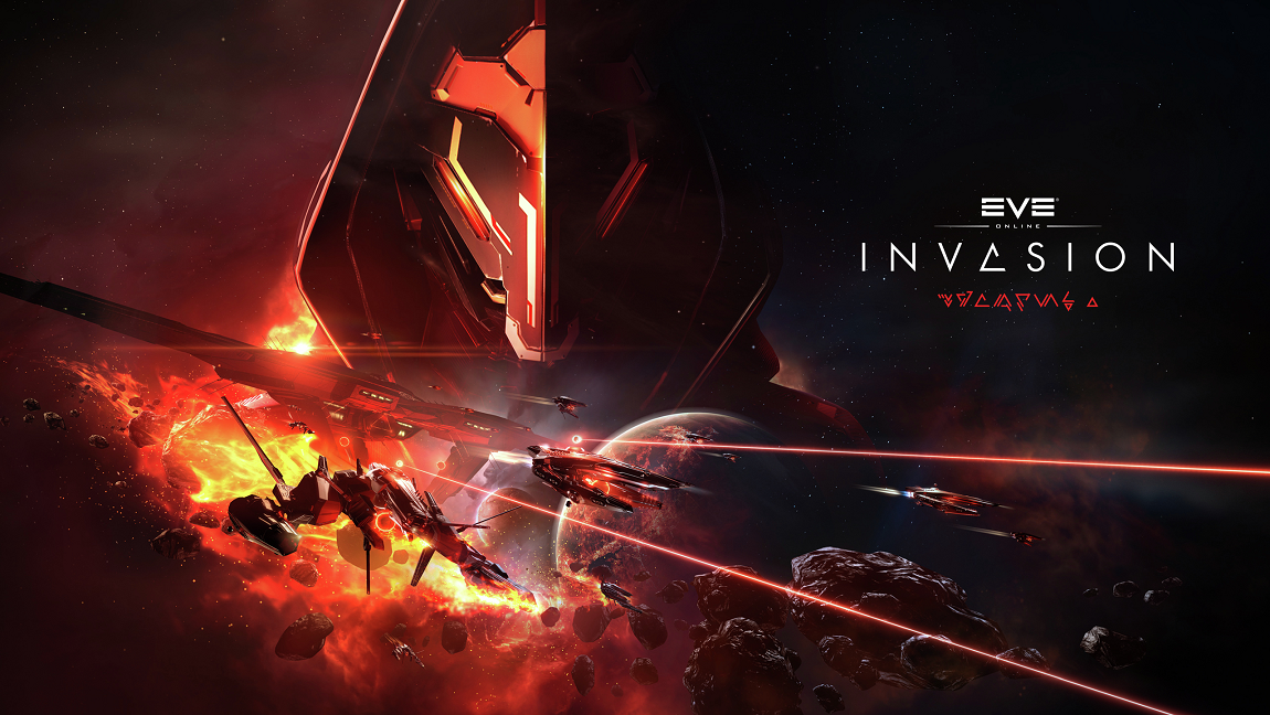 EVE Online's Triglavian Invasion promotional art by CCP Games. Featuring an ominous masked figure and exploding ships. The promotional got me hooked in a video game that allowed me to avoid addressing my mental illness.