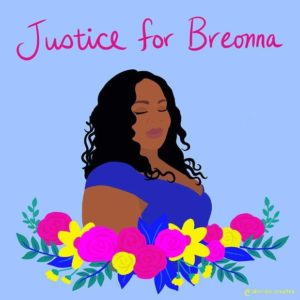 """Mixed media image of Breonna Taylor with flowers across the bottom and """"Justice for Breonna"""" written at the top."""