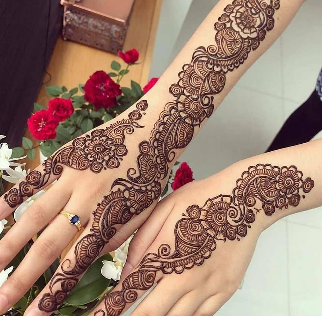 Image description: Two arms, showing henna designs on the back of the hands and forearms with roses in the background. The designs include patterns of whorls.
