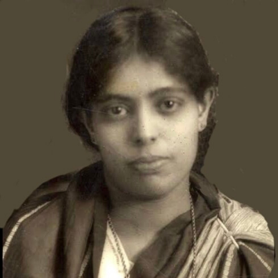 A portrait photo of Janaki Ammal, the first woman botanist in India.