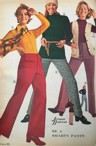 a vintage fashion advertisement featuring three women. Image reads: Junior Bazaar -- be a smarty pants.