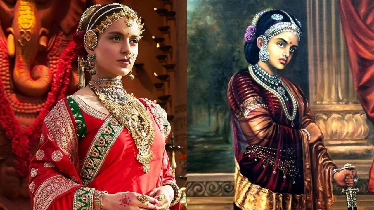 On the left. a still from the movie Manikarnika: The Queen of Jhansi. A woman, the queen, is clad in a traditional Indian wedding dress. On the right, a painting of the queen of Jhansi wearing an Indian wedding dress with traditional Indian jewelry.