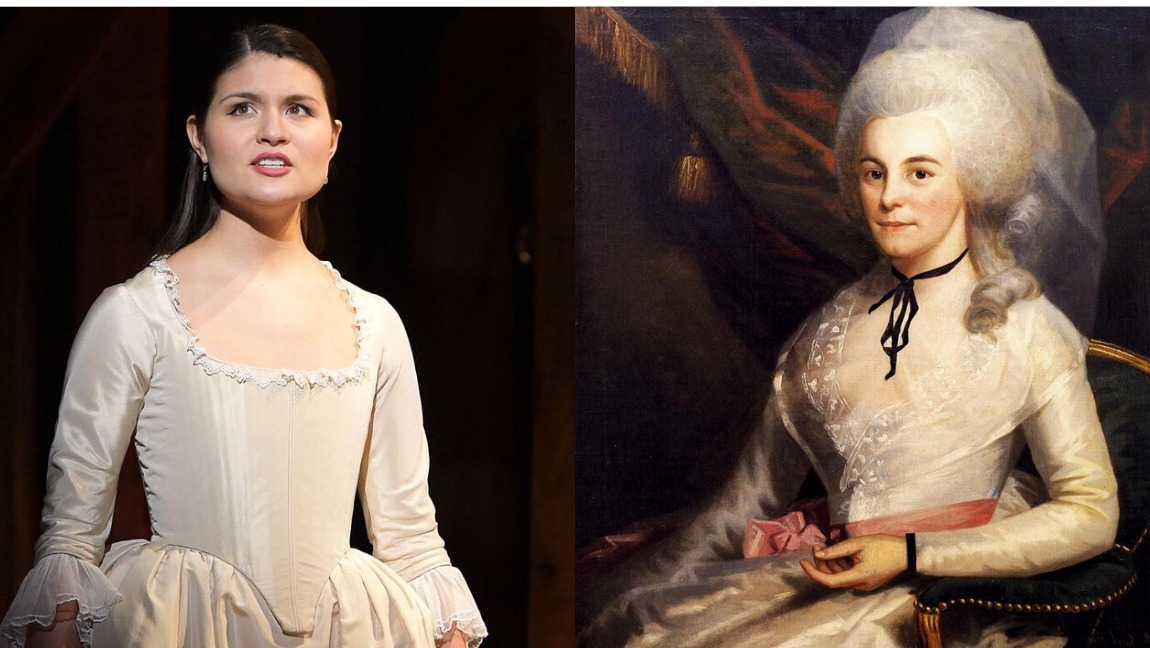 On the left, a photo of Phillipa Soo in her role as Eliza. She wears a simple white dress, and she has an intense look on her face. On the left, is a portrait of Eliza. She is also wearing a white dress, and her hair is grey and curled.