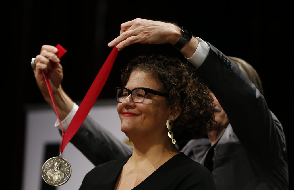 Poet and professor Elizabeth Alexander while being awarded the W.E.B DuBois medal at Harvard University.