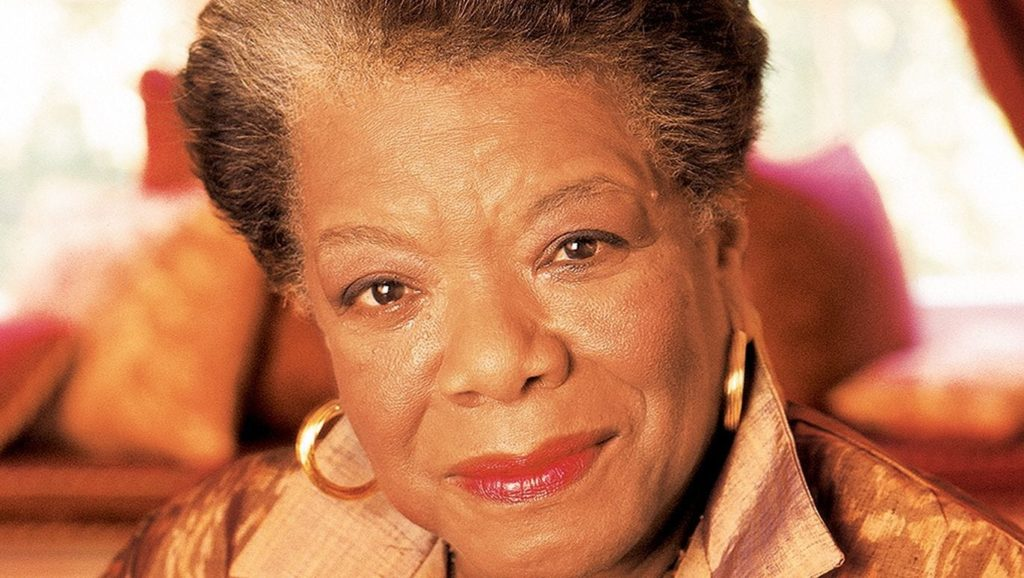 A photograph of Maya Angelou wearing gold hoop earrings.