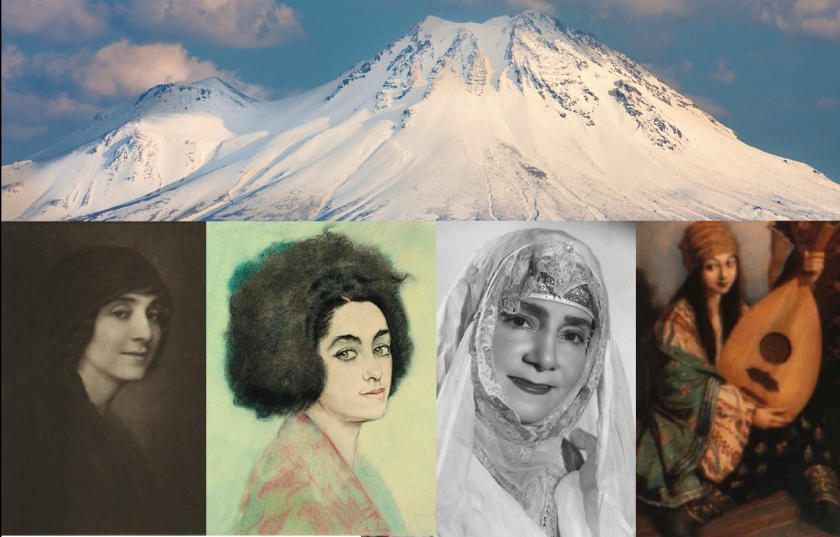 An image of a mountain joined by four images of a woman in Armenian clothing.