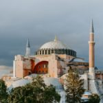 A wide shot of Hagia Sophia in Istanbul on a cloudy day