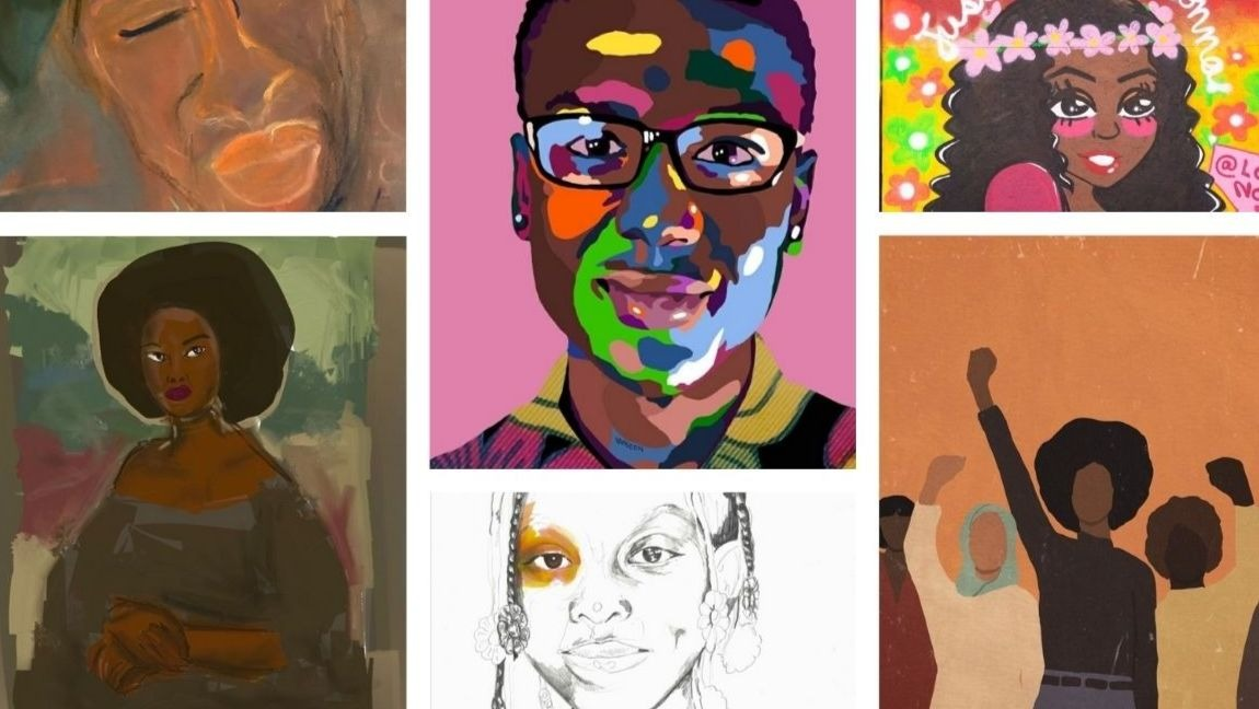 "[Image description: A collage of artwork representing black people made by black artists] Via Sarah Dahir, Otha ""Vakseen"" Davis III, Adrian Brandon, Simi Stone and Errin Donahue."
