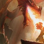 A massive red dragon breathes hot flames down on a fully-armored knight who has their shield raised in defense