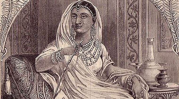 A painting of the queen of Jhansi, Lakhshmibai.