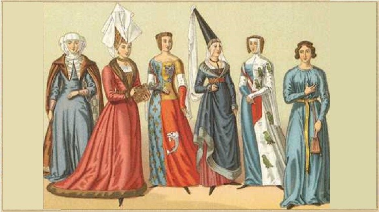 Queen Eleanor of Aquitaine of the 12th century and her ladies wearing headdresses with scarves.