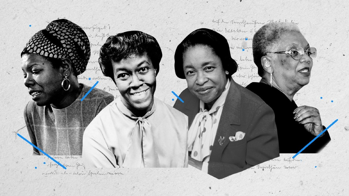 From left to right -- photographs of Maya Angelou, Gwendolyn Brooks, Margaret Walker, Lucille Clifton.