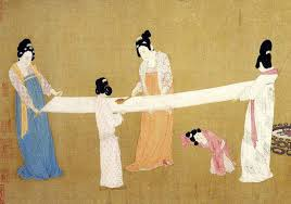 Song Dynasty women inspecting a bolt of silk . 12th century CE. Painted on silk.