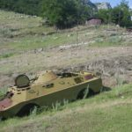 An image of a tank in the contested zone of Artsakh