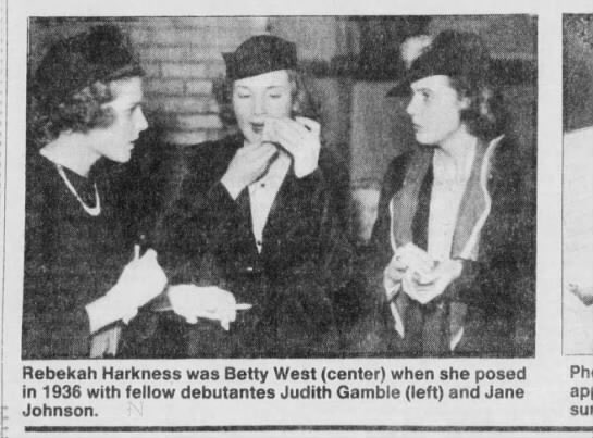 [Image Description: Black and white picture from a newspaper of Rebekah Harkness]. Via St Louis Post.