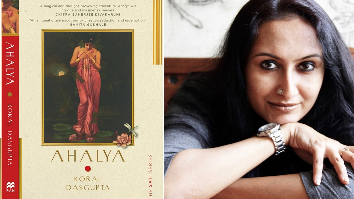 The image shows two panels, one on the left side showing the book cover of Ahalya with the illustration of a woman on the cover, and shows Koral Dasgupta on the right panel.